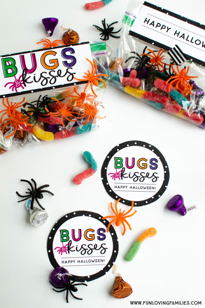 graphic regarding Bugs and Kisses Free Printable called Insects and Kisses Do it yourself Halloween Social gathering Favors - Enjoyment Loving People