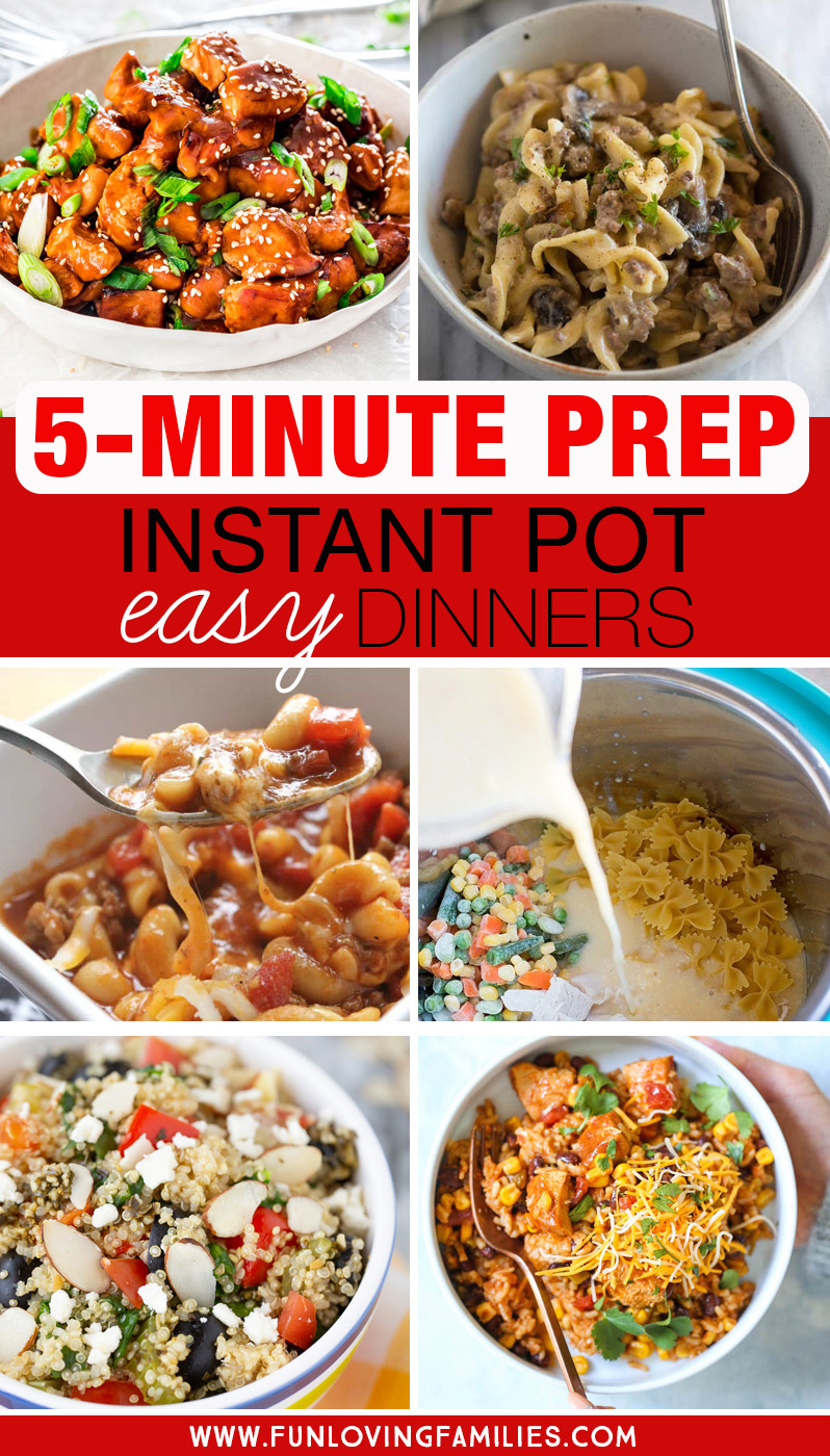 easy Instant Pot dinner recipes with 5-minute prep times
