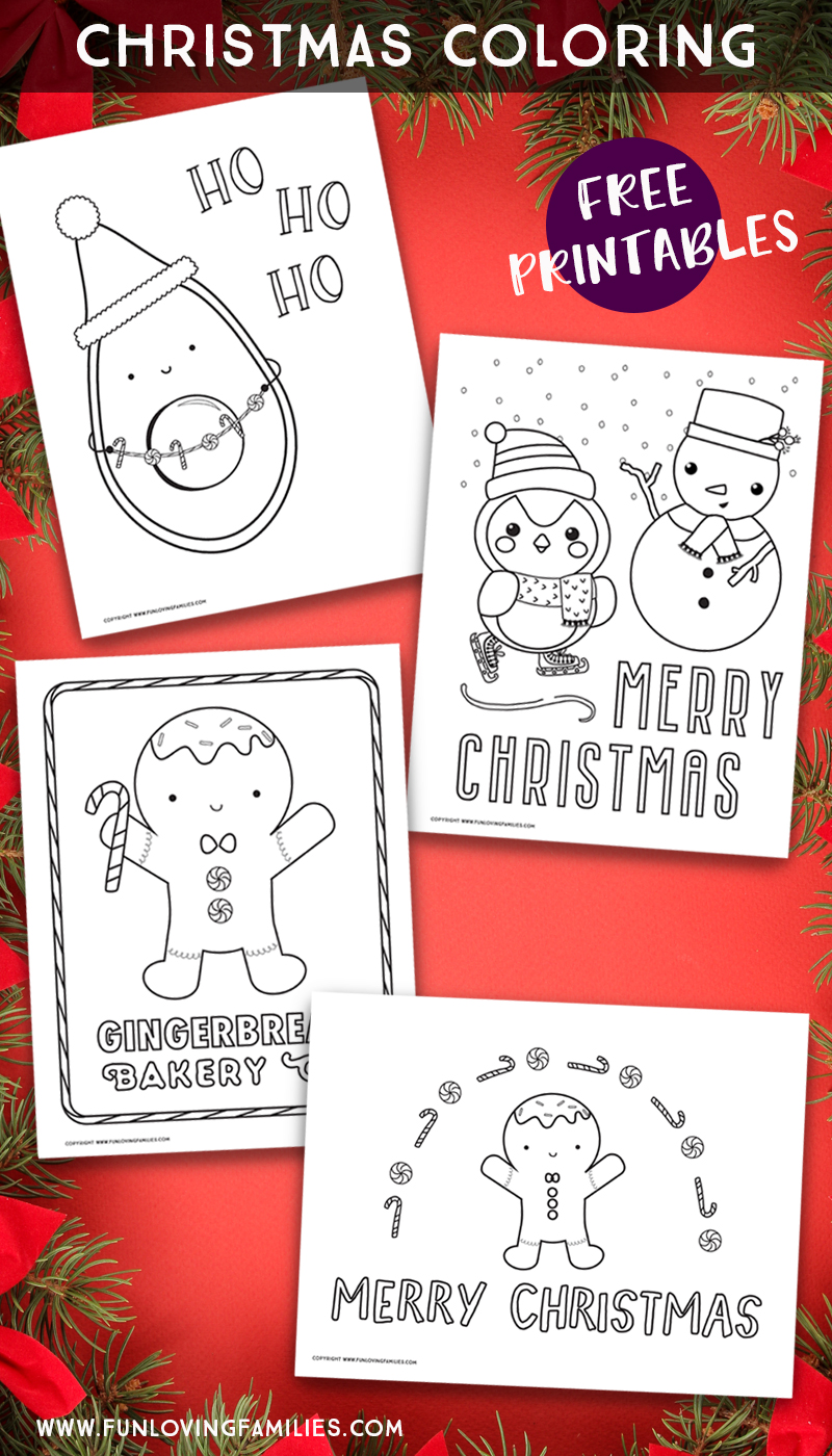 four cute Christmas coloring pages