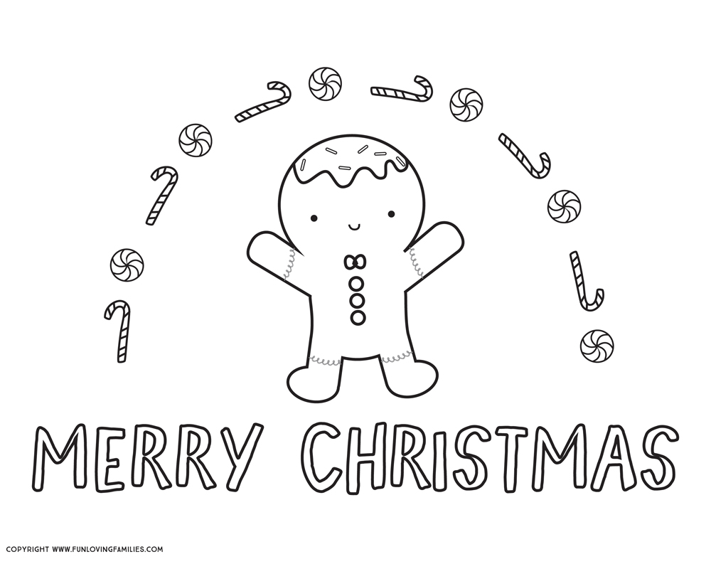 Merry Christmas coloring pages for kids, with cute gingerbread man