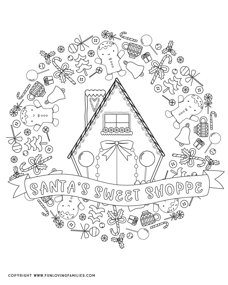 cute Christmas coloring page for adults or kids with Santa's Sweet Shoppe