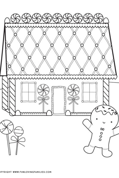 gingerbread house and gingerbread man coloring sheet