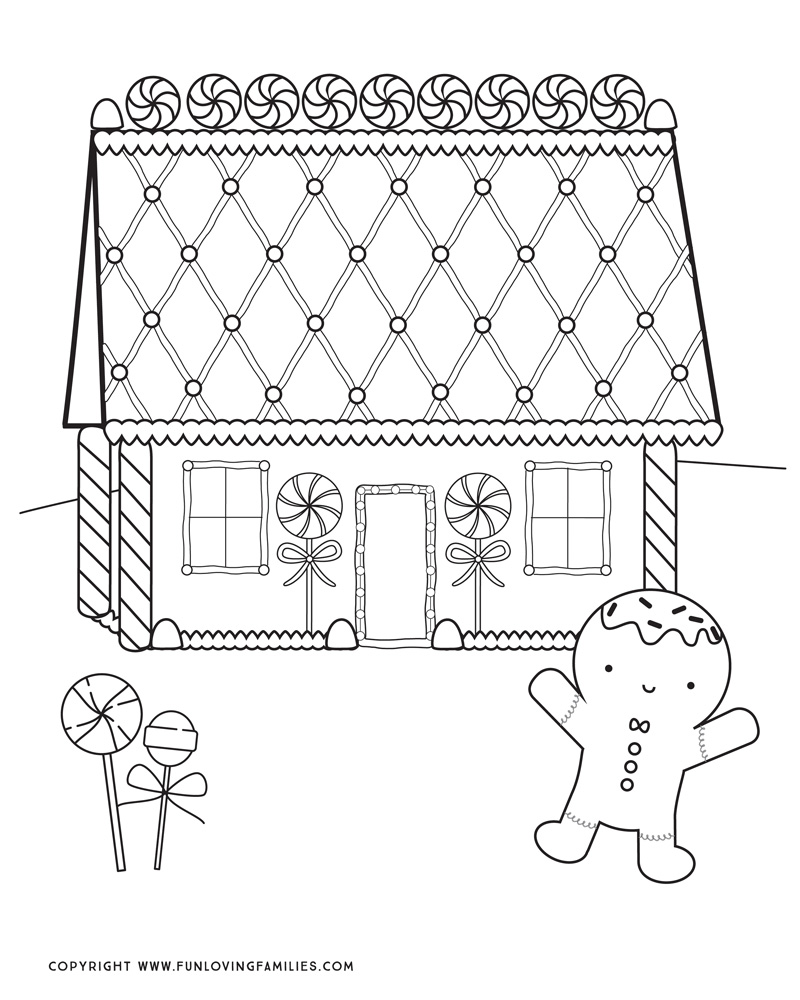 gingerbread house coloring page with cute gingerbread man