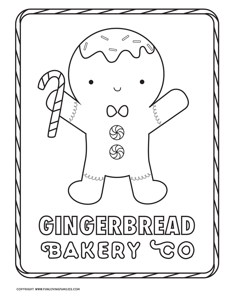 cute gingerbread man coloring sheet for Christmas