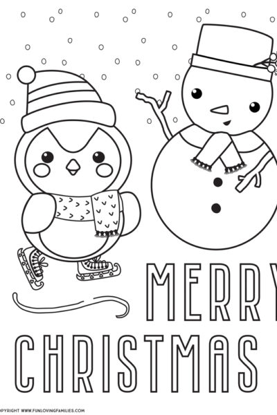 Merry Christmas coloring page with cute penguin and snowman
