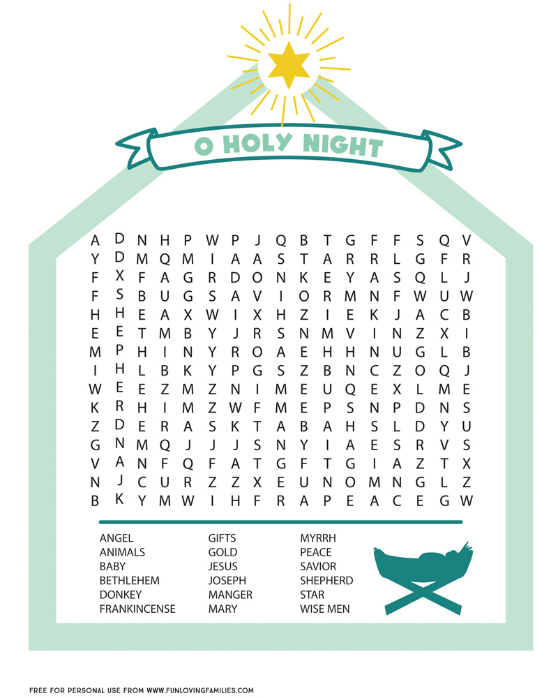 Nativity word search