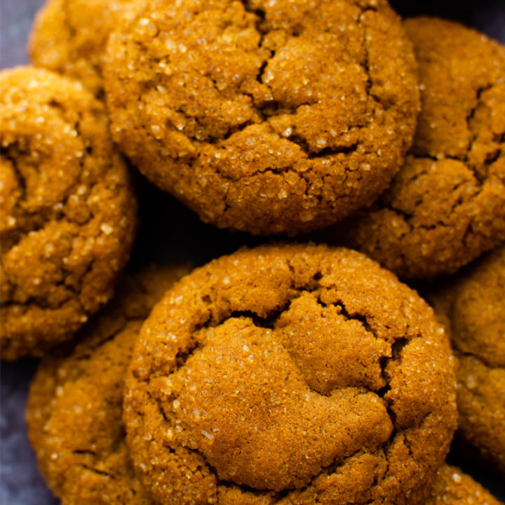 soft ginger and molasses cookies in a pile