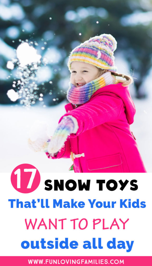 now toys with image of girl playing in snow