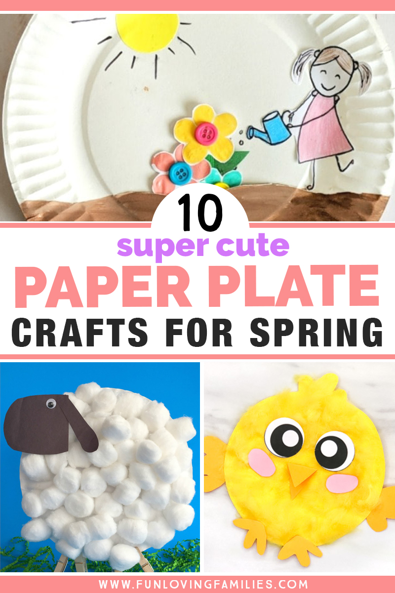 cute paper plate spring kids crafts with flowers, lamb, and chick