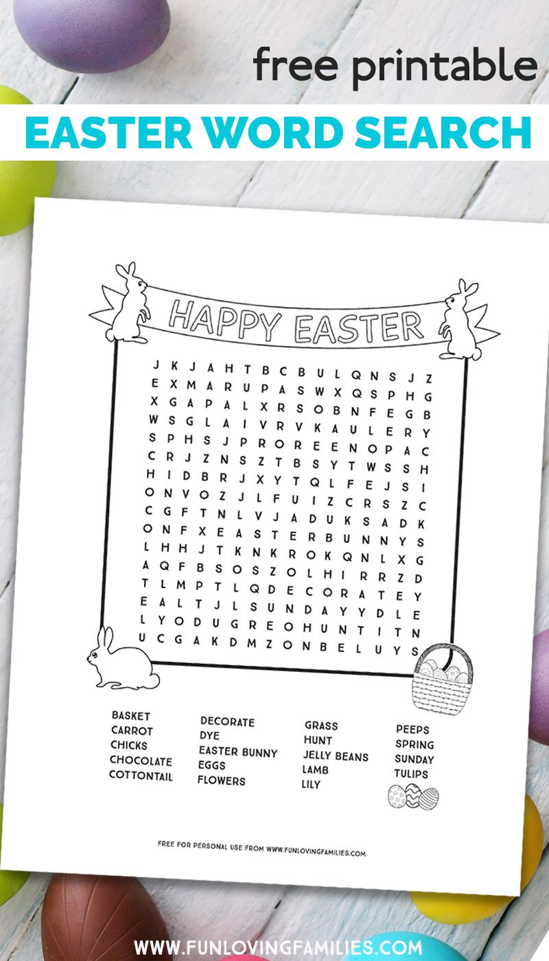 printable Easter word search sheet for kids