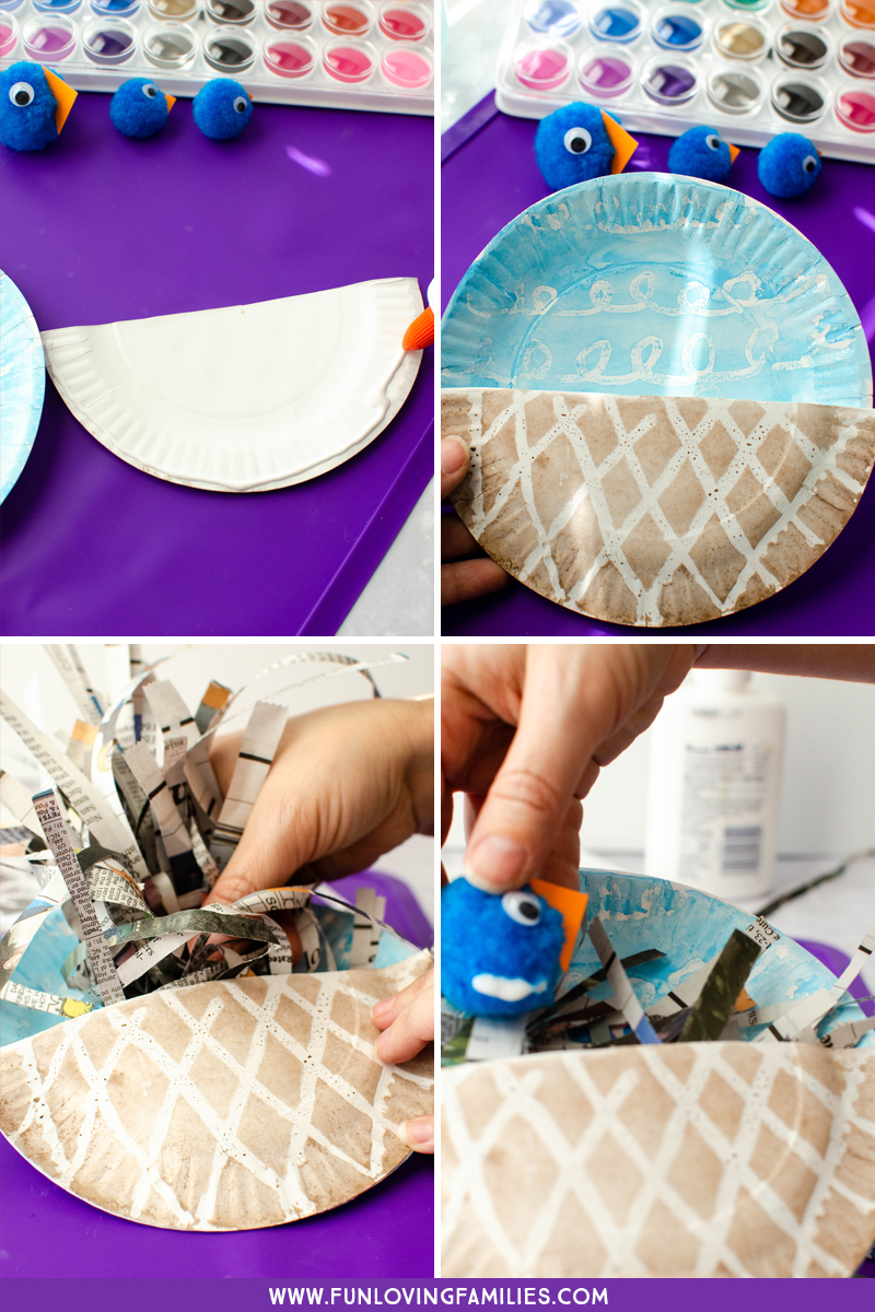 steps to assemble the paper plate bird nest and the pom pom birds together