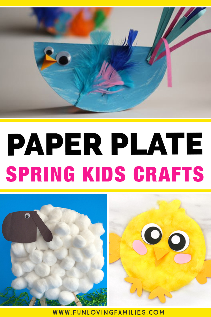 spring kids crafts made with paper plates