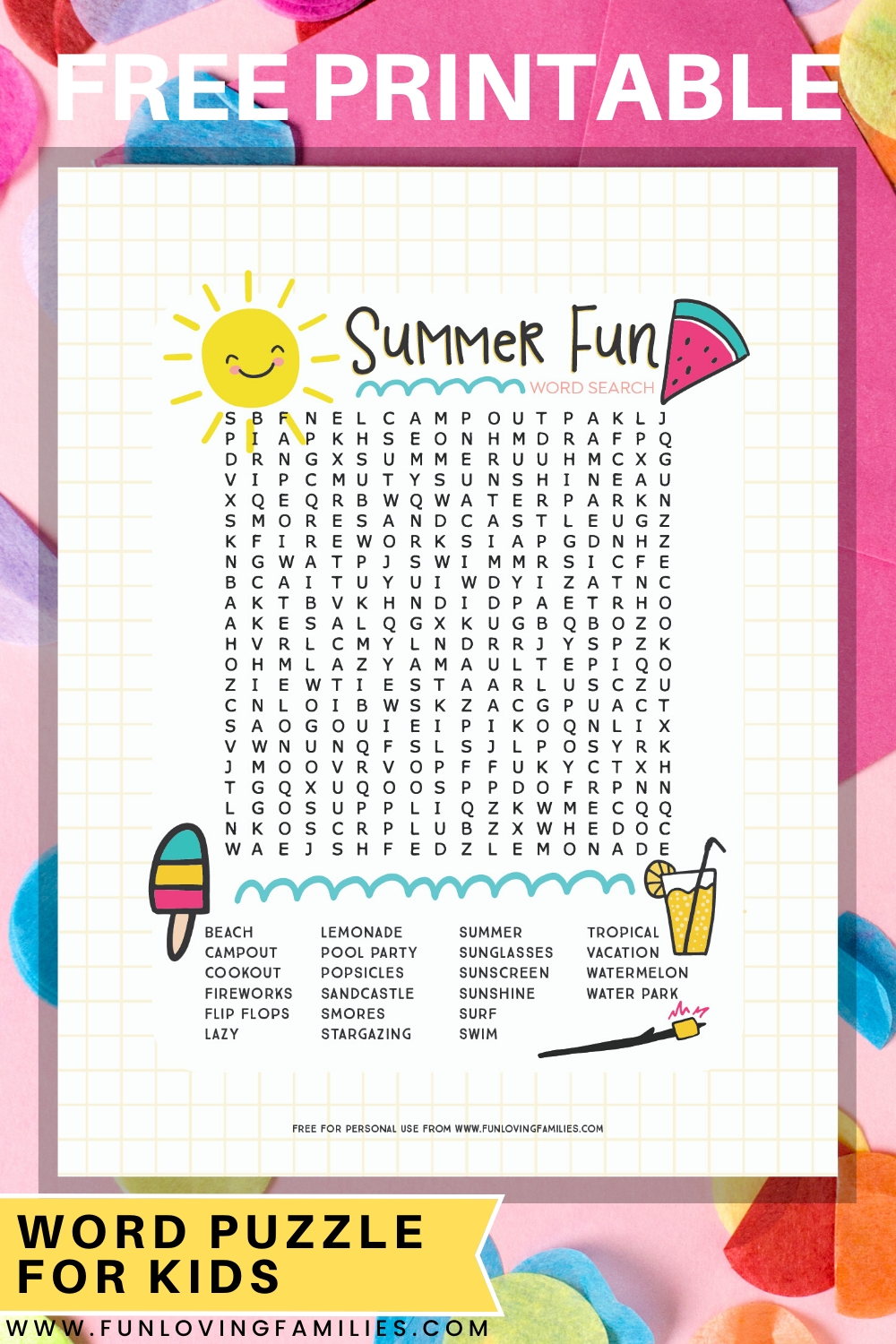 Printable Summer Word Search
