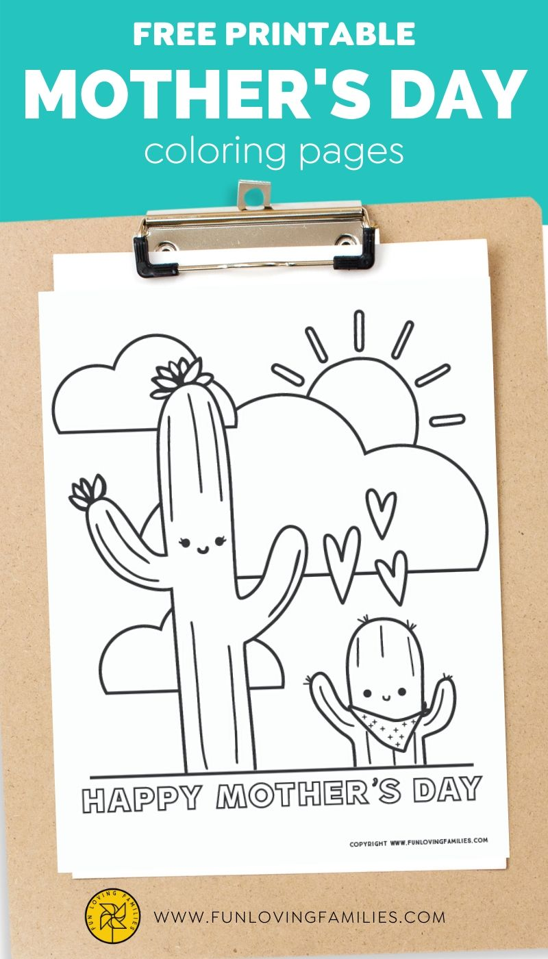 Cute Mother's Day coloring pages with cactus