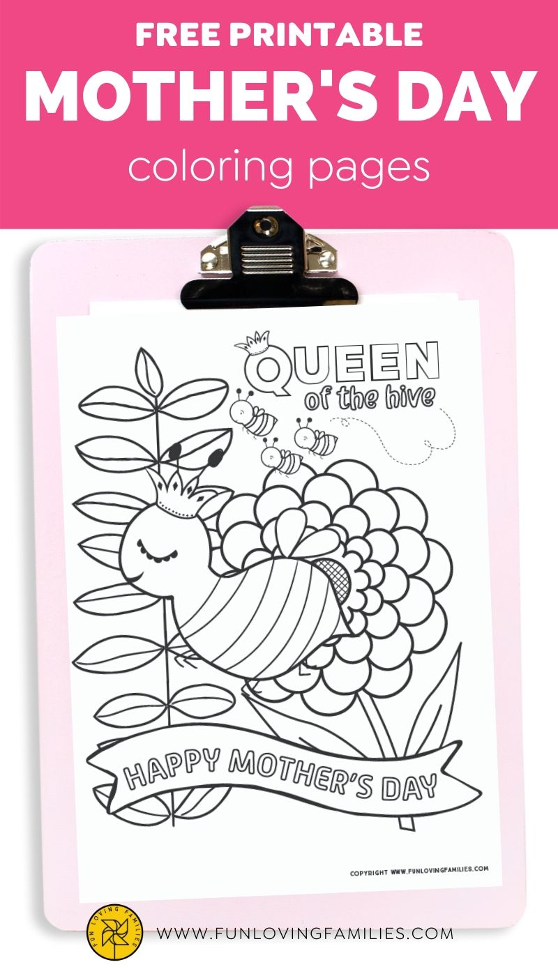 Cute Queen bee Mother's Day coloring page