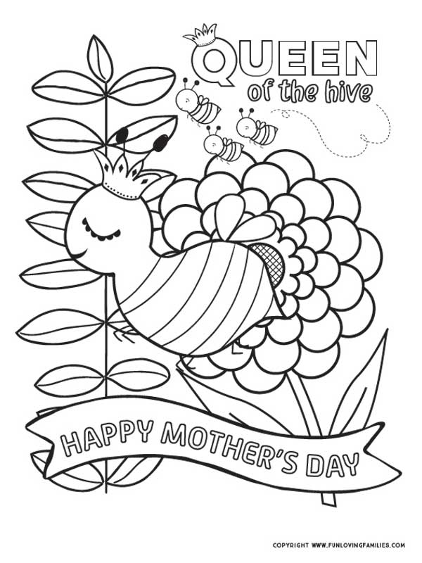 happy mothers day coloring sheet with cute bees
