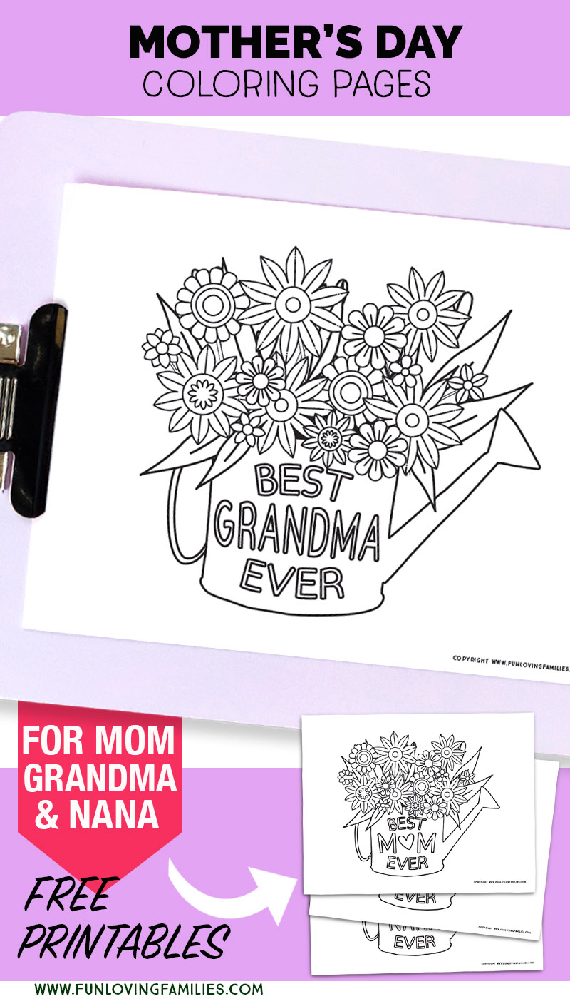 Mother's Day coloring pages for Grandma, Mom, and Nana