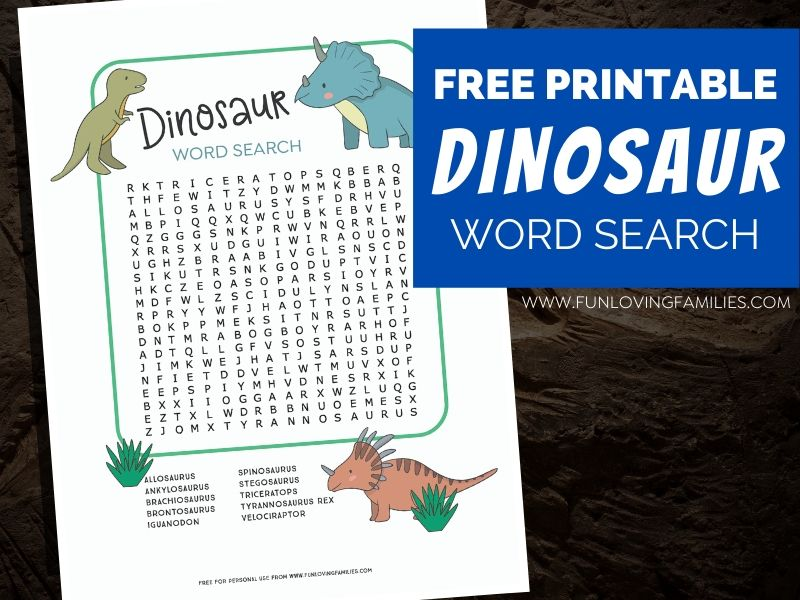 dinosaur word search with text overlay