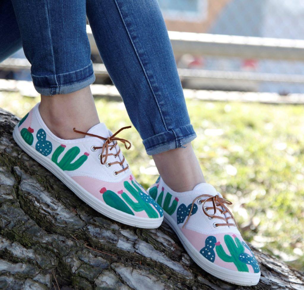 cactus painted shoes design