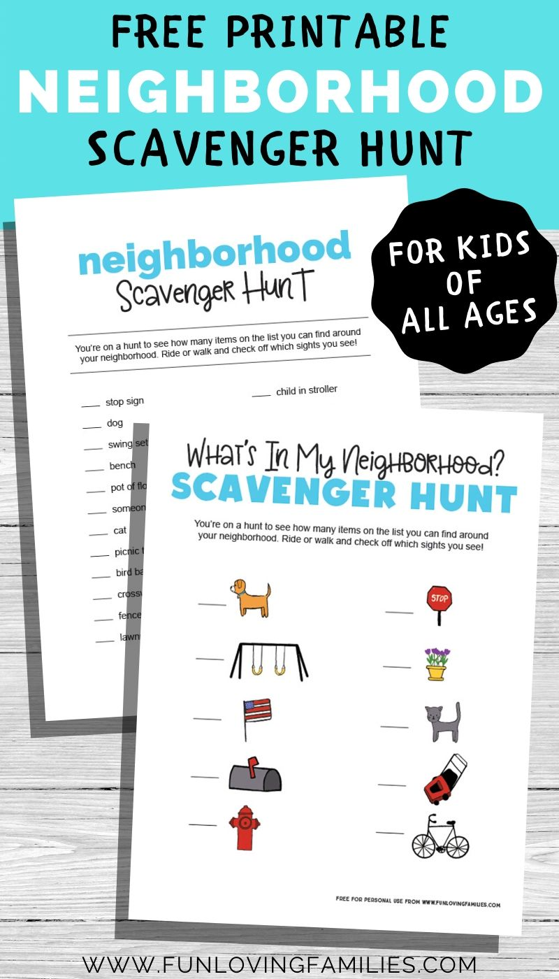 printable neighborhood scavenger hunt