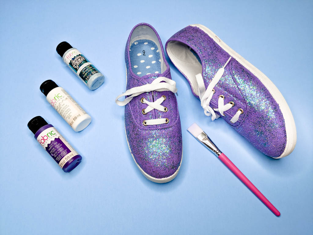 painted purple glitter shoes