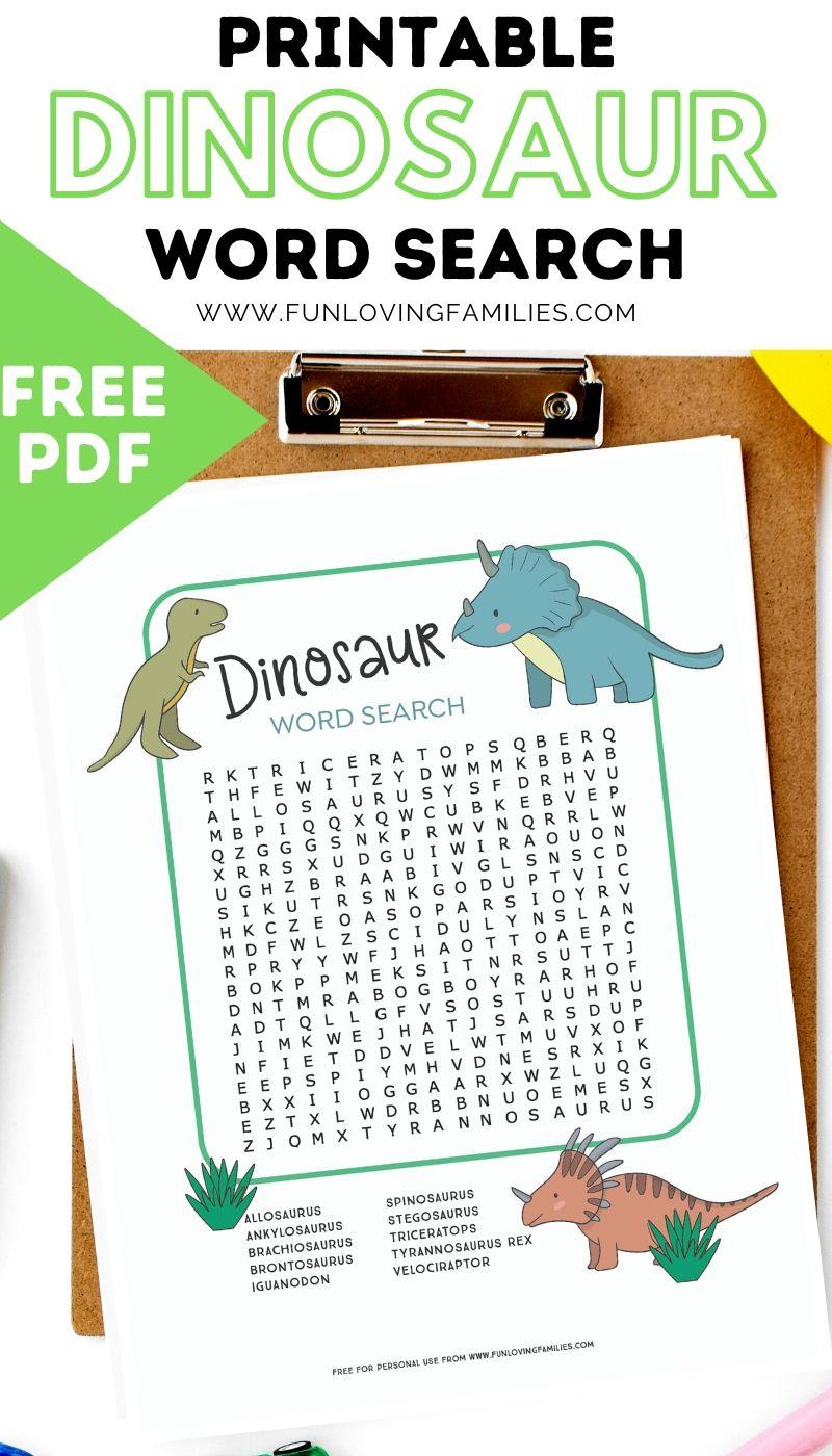 printable dinosaur word search