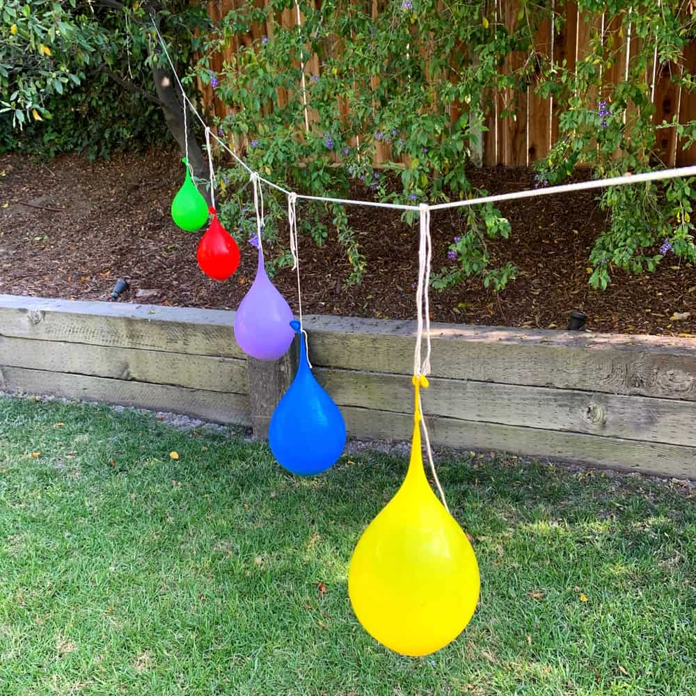 colorful water balloons on string