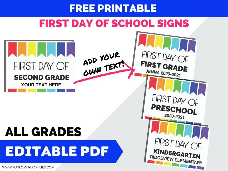 colorful first day of school signs with editable text