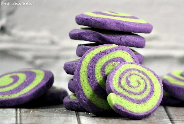purple and green pinwheel cookies