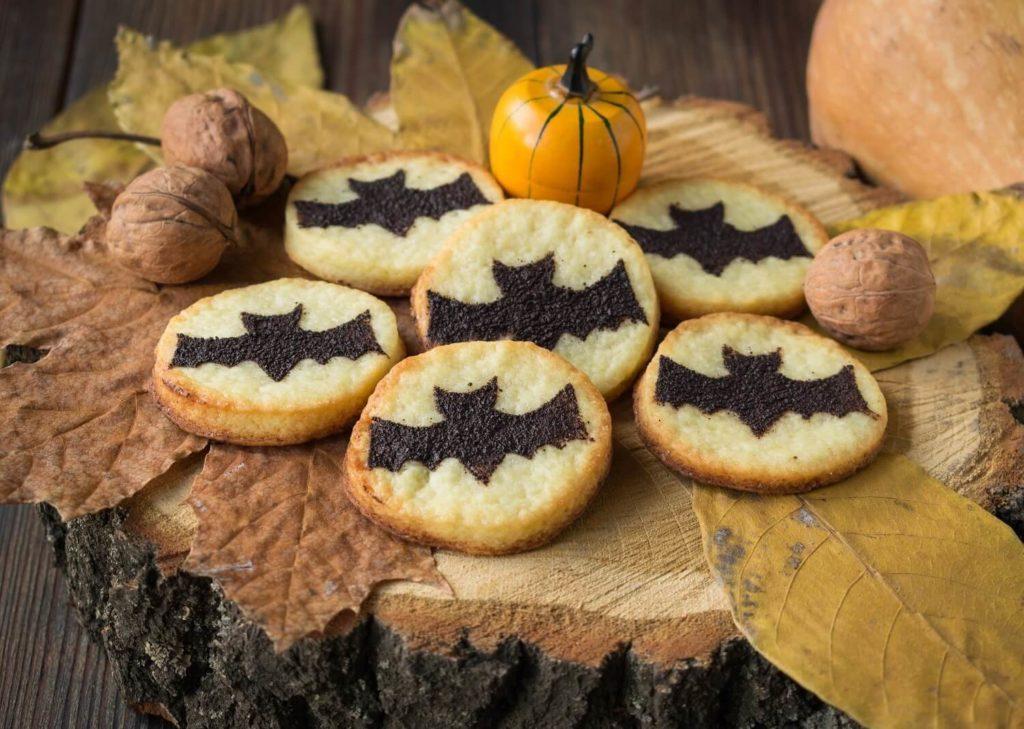 sugar cookies with bat stencils