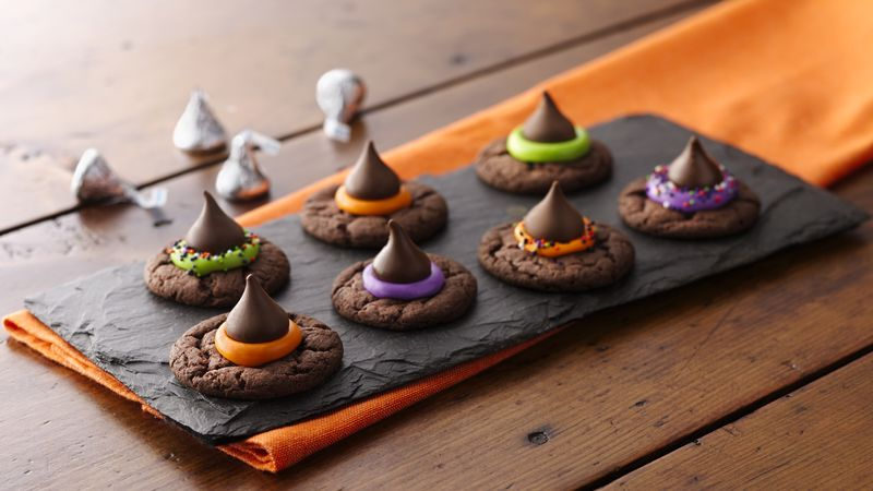 halloween witch hat cookies with herhey's kisses