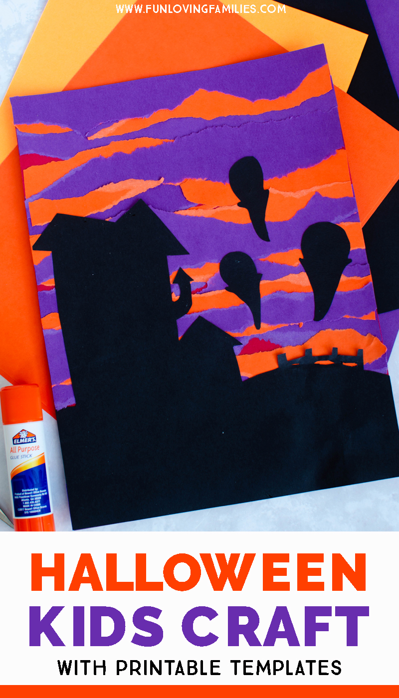 Halloween paper art project for kids with house and ghosts