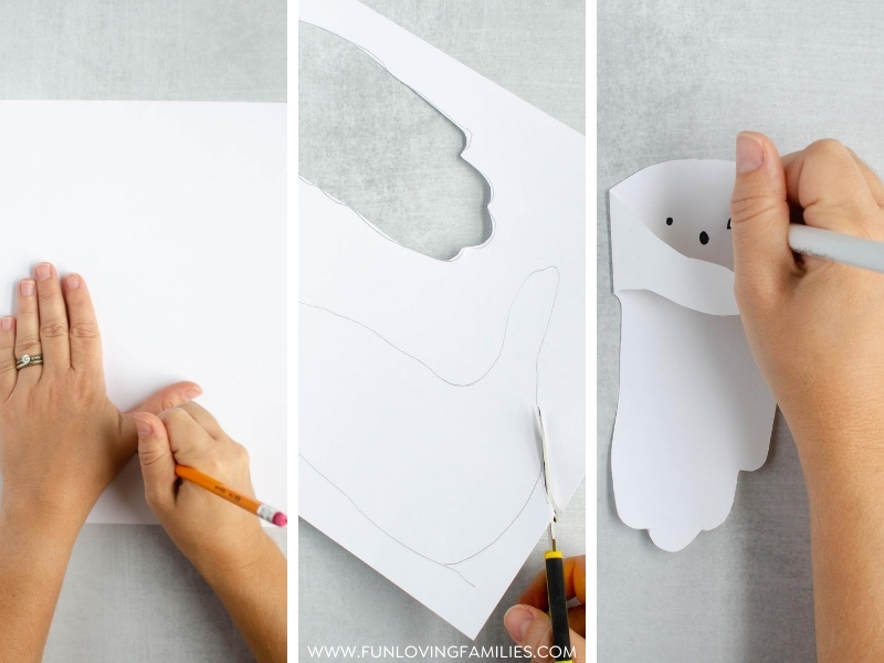 3 steps to making handprint ghost craft: tracing hand, cutting handprint, drawing ghost face