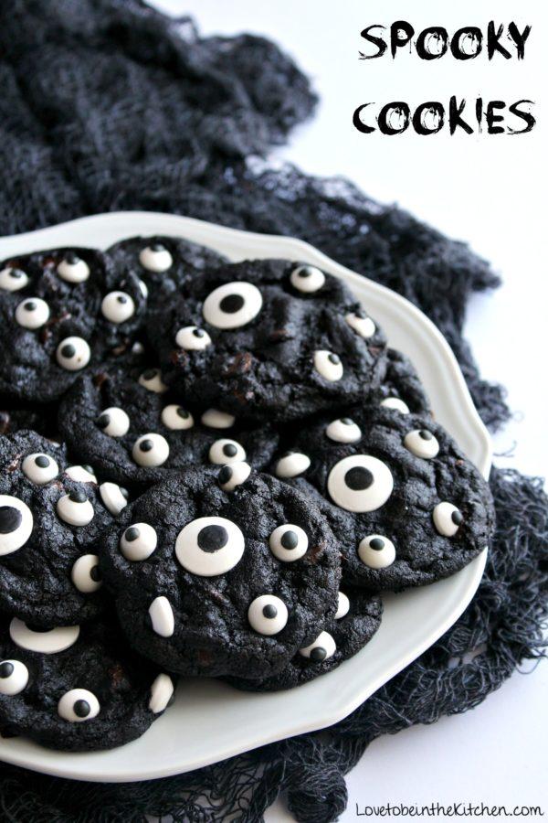 dark chocolate eyeball halloween cookies