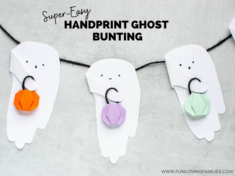 Halloween handprint craft: bunting ghosts with origami pumpkins
