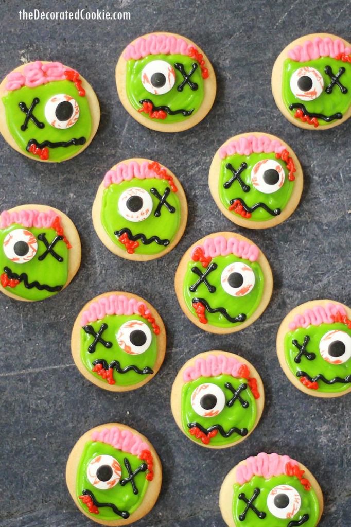 small zombie decorated cookies