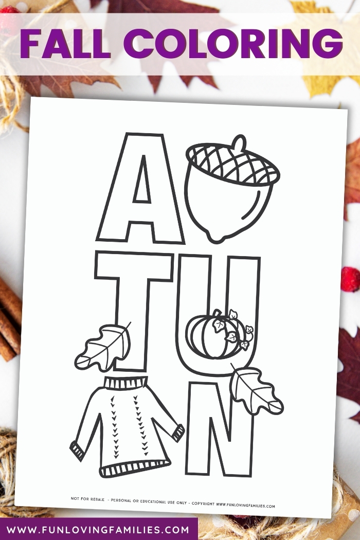 autumn coloring page printable for fall