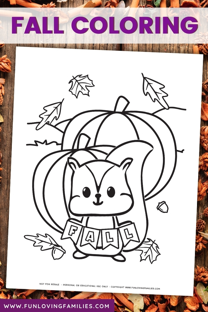 cute fall coloring page for kids