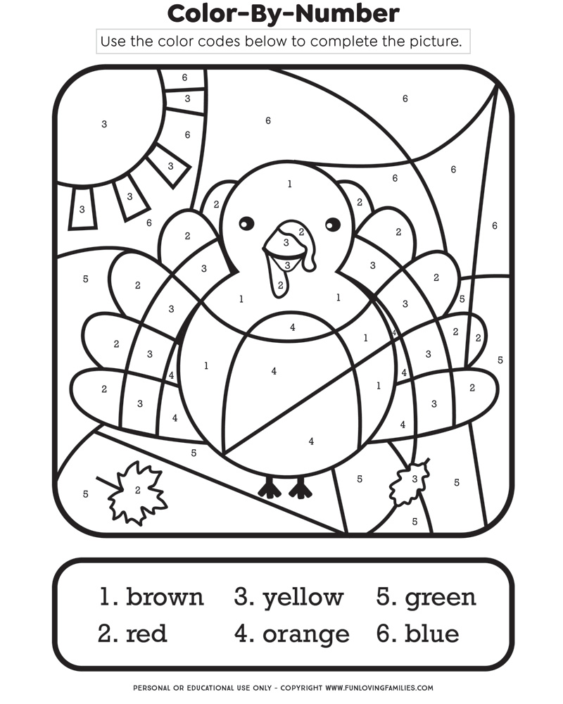 thanksgiving color by number turkey page