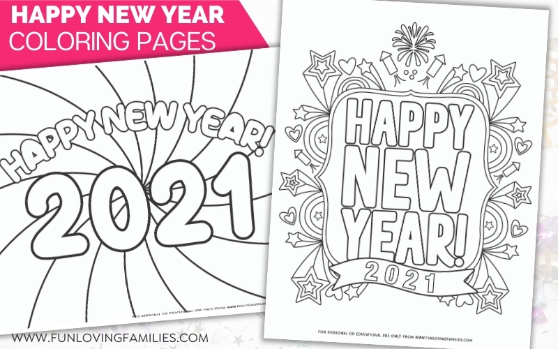 Happy New Year coloring pages for 2021