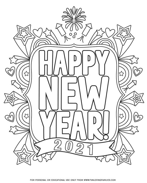 printable Happy New Year 2021 Coloring page with doodles for kids or adults
