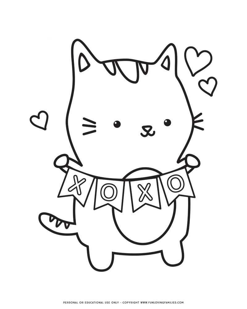Valentines day coloring page with cute kitty holding XOXO sign
