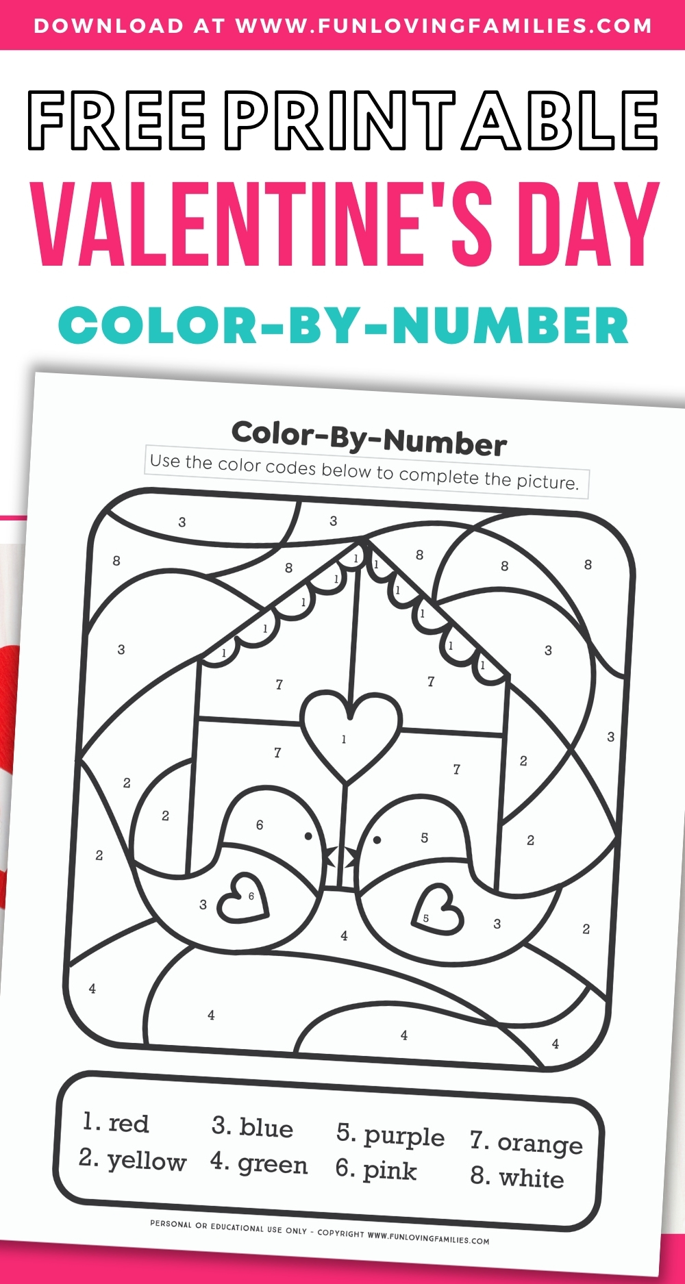 free printable valentines day color by number sheet