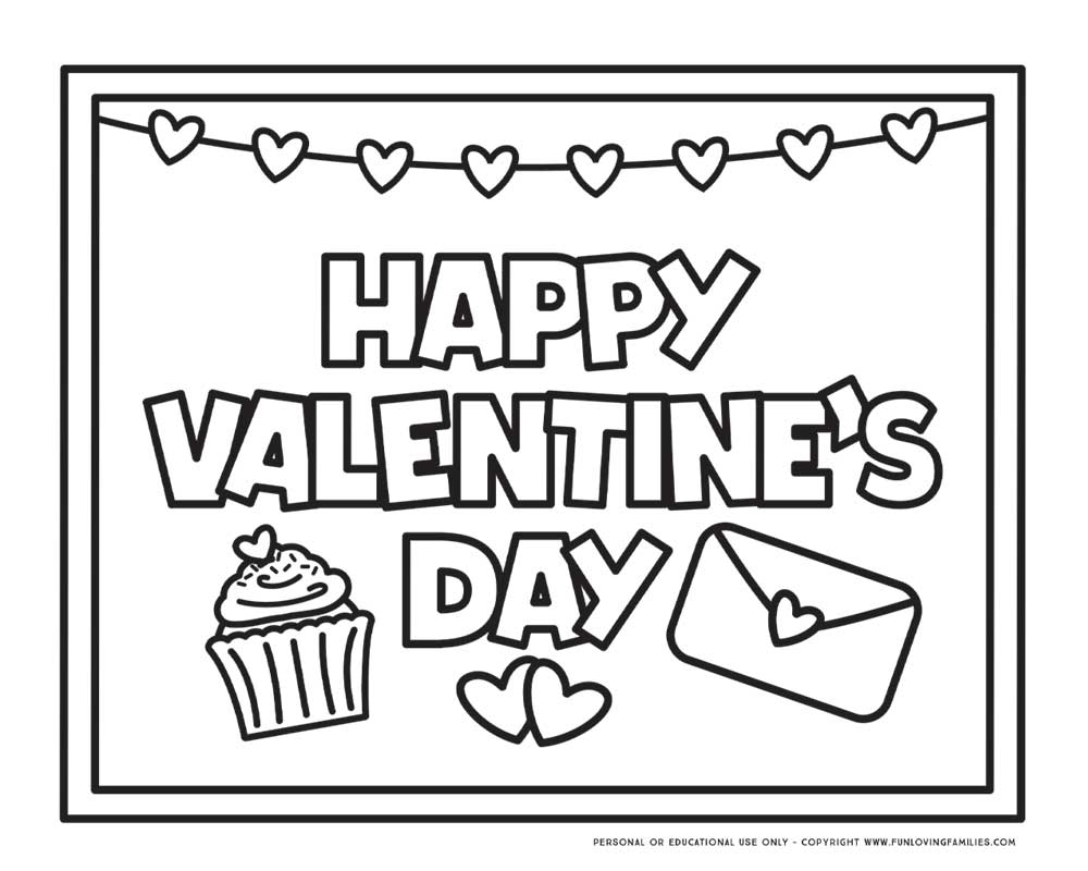"""Happy Valentine's Day"" coloring page with hearts"