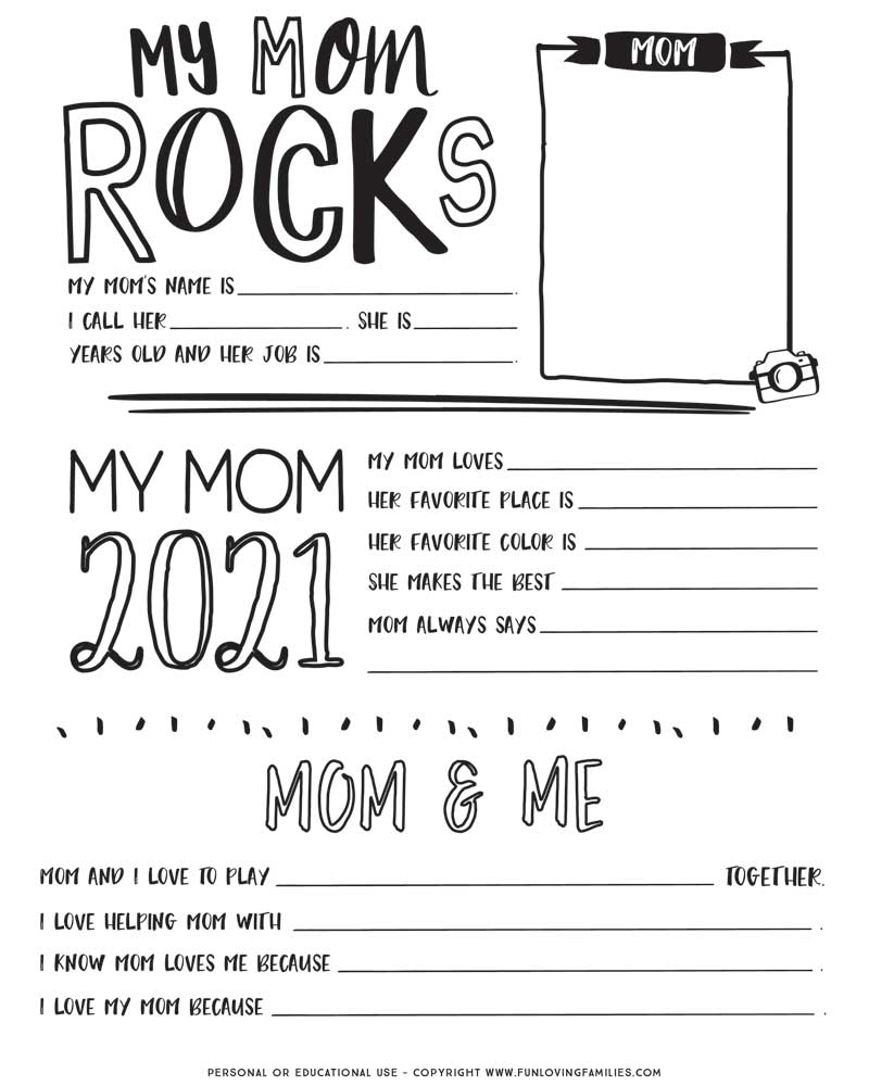 printable mother's day questionnaire and coloring sheet