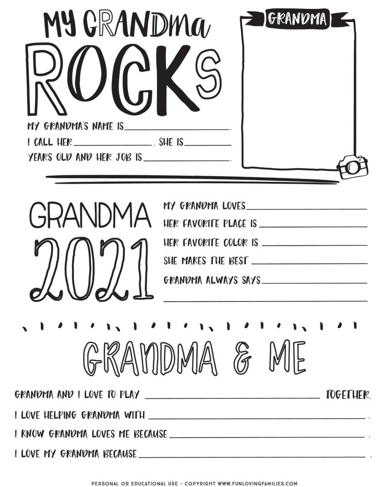 Mother's Day questionnaire for Grandma image
