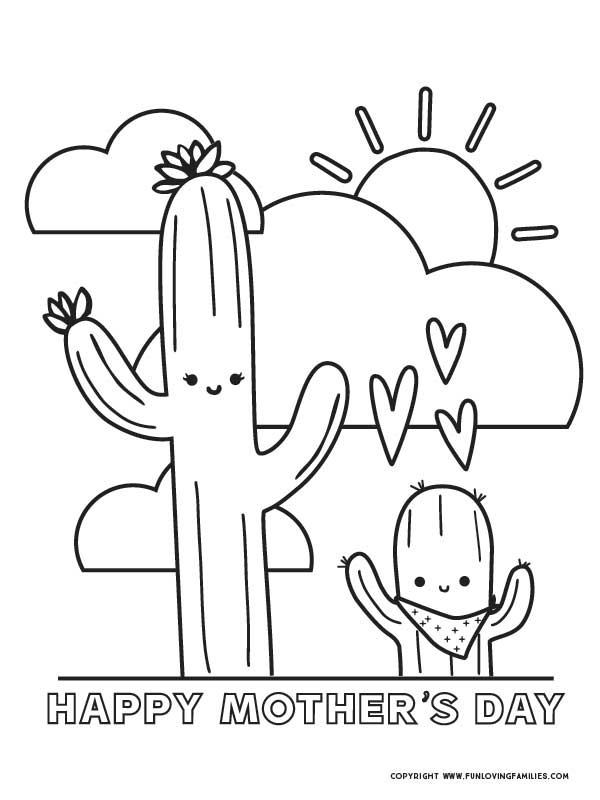 happy mother's day coloring page for boys with cute cactus