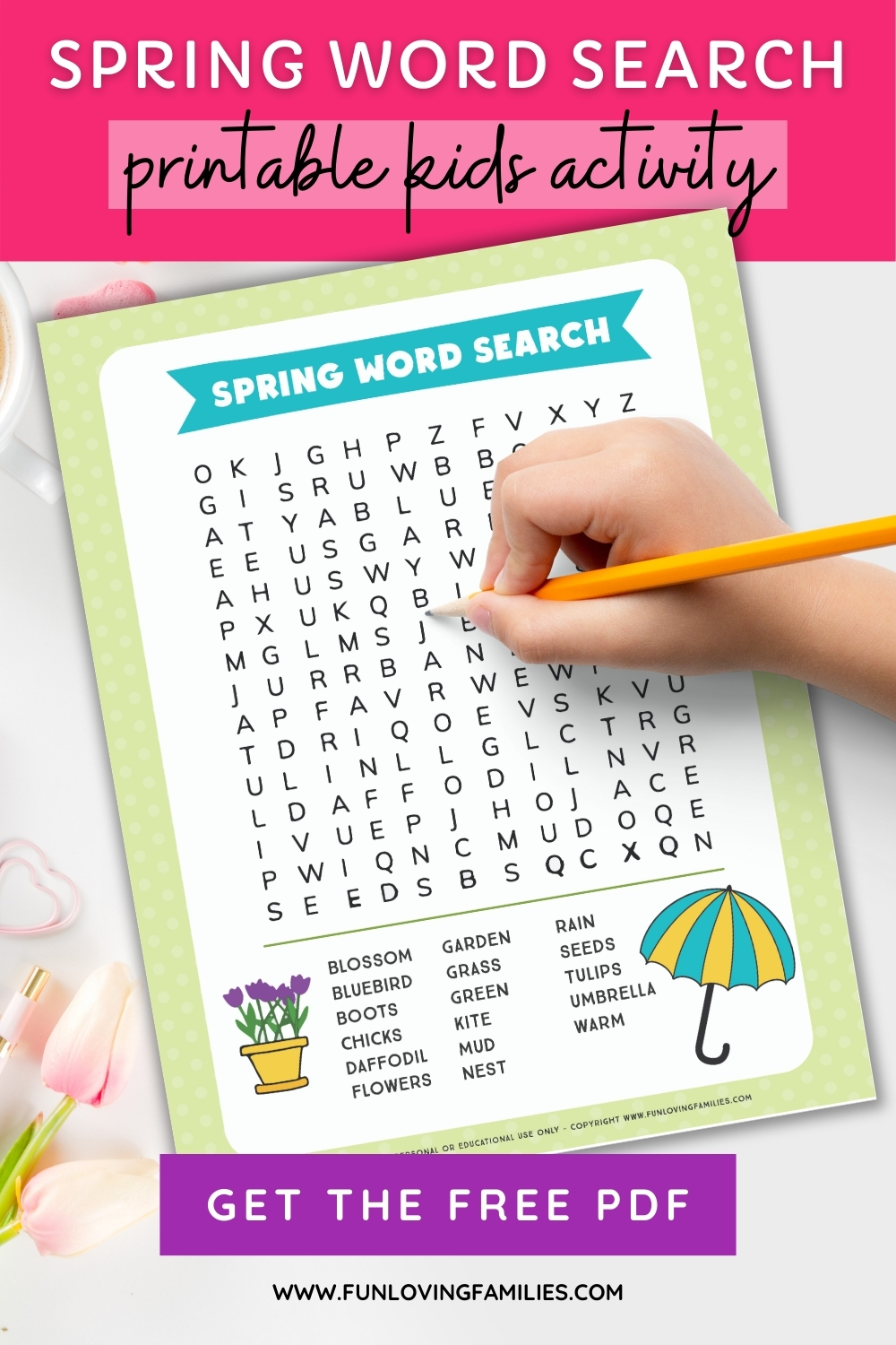 free download for spring word search sheet for kids