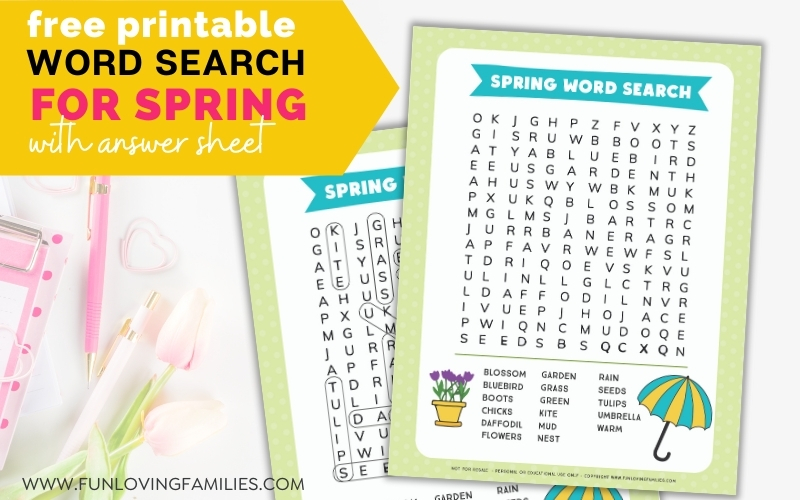 spring word search and answer sheet