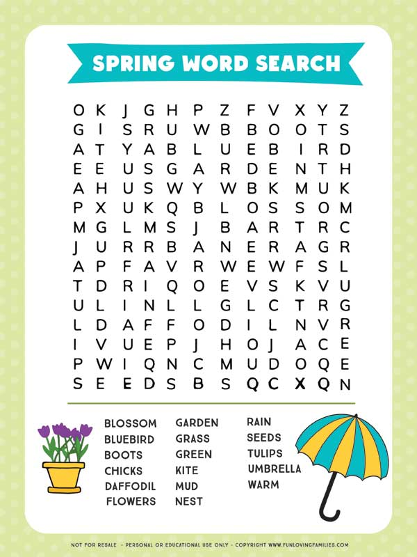 spring word search sheet with green border and simple spring illustrations